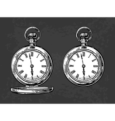 Antique pocket watch vintage engraved vector