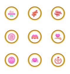 best mom ever icons set cartoon style vector image vector image
