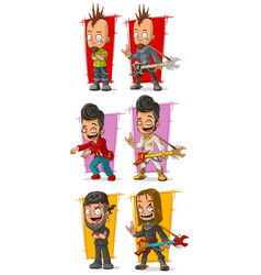Cartoon rock musicians with guitar character set vector