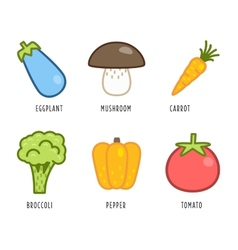 Cartoon vegetables and fruits vector image