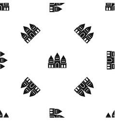 children house castle pattern seamless black vector image