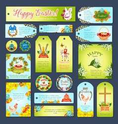 Easter greeting cards tags banners set vector