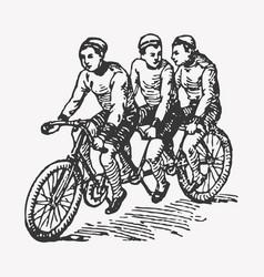 engraving tandem bike vector image