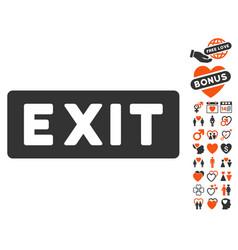 Exit label icon with love bonus vector