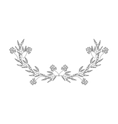 gray scale half crown olive branch contour vector image vector image