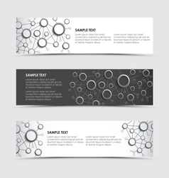 Horizontal banners with network connection design vector