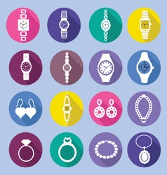 Icons set with fashion watches and jewelry i vector