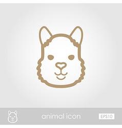 Lama outline thin icon animal head symbol vector