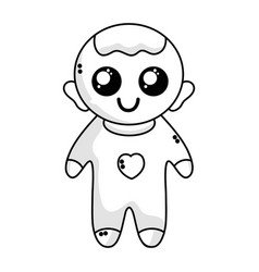 line cute baby boy with hairstyle and clothes vector image vector image