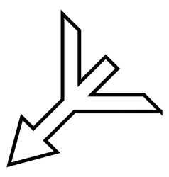 Merge arrow left down contour icon vector