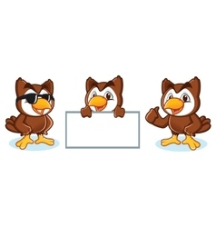 Owl mascot happy vector