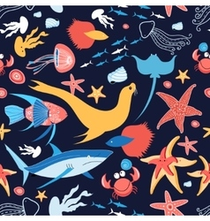 Pattern with stingray and fish vector