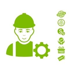 Repairman icon with free bonus vector