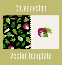 salad leaves and herbs pattern cover vector image