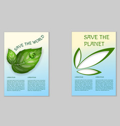 Save the planet ecological poster vector