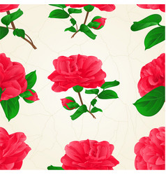 Seamless texture three flowers camellia japonica vector