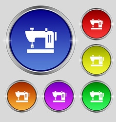 Sewing machine icon sign round symbol on bright vector
