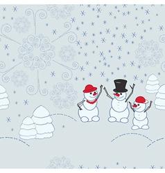 Snowmen background vector