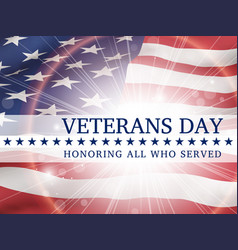 veterans day honoring all who served poster vector image