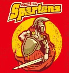 vintage spartan mascot vector image vector image