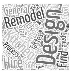 Who to hire for your kitchen remodel word cloud vector