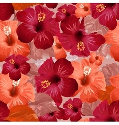 Red hibiscus flower seamless floral background vector