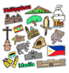 Philippines travel set with architecture vector