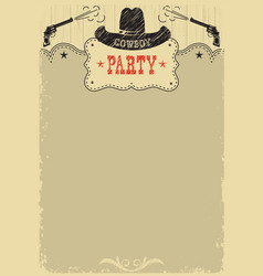 cowboy party background with western decoration vector image