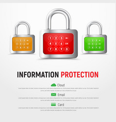 Design a square white web banner with padlocks vector