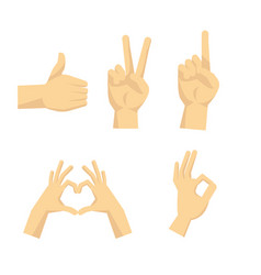 flat hands sign set with isolated vector image