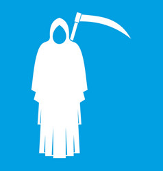 Death with scythe icon white vector