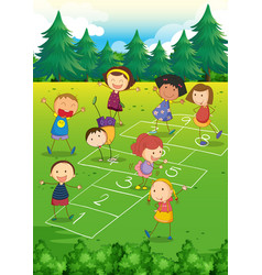 Kids playing hopscotch in the park vector