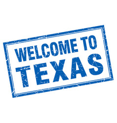 Texas blue square grunge welcome isolated stamp vector