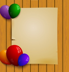 Wooden plank wall with a paper and balloons vector