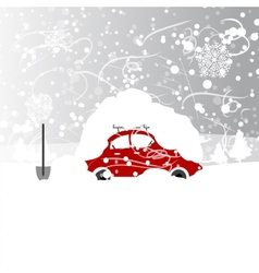 Car with snowbank on roof winter blizzard vector image