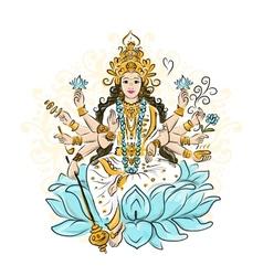 Indian goddess shakti sketch for your design vector