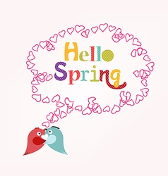 Hello spring with heart bubble vector