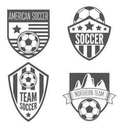 Set of vintage soccer football labels emblem and vector image