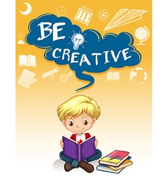 Poster design with boy reading books vector