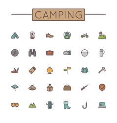 Colored camping line icons vector