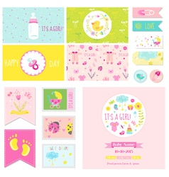 Baby shower little girl set - for party vector
