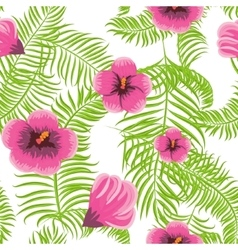 Tropical jungle palm leaves hibiscus pattern vector