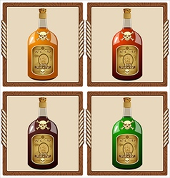 Icons with pirate rum vector