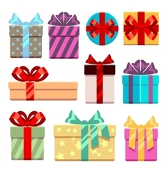 Gift boxes flat icons set vector