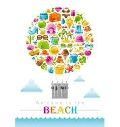 Beach sea summer concept design with travel vector image