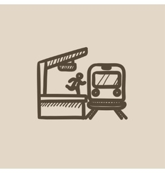 Man runs along train station platform sketch icon vector