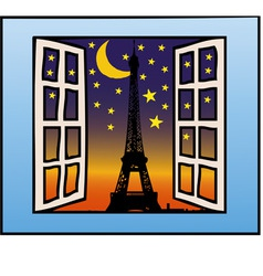 a window on the eiffel tower vector image vector image