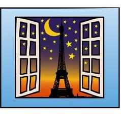 A window on the eiffel tower vector