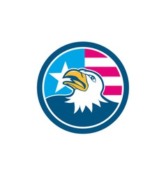 American Bald Eagle Head Flag Side Cartoon vector image vector image