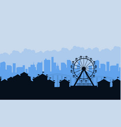 amusement park landscape silhouettes background vector image vector image